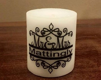 Mr & Mrs Split Candle Personalized