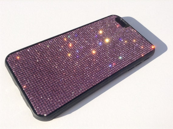 iPhone 6 Plus / 6s Plus Purple Amethyst Crystals on Black Rubber Case. Velvet/Silk Pouch Bag Included, Genuine Rangsee Crystal Cases