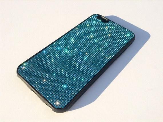 iPhone 6 Plus / iPhone 6s Plus  Aquamarine Blue Crystal Black Rubber case iPhone 6 Plus Bling Cover Velvet/Silk Pouch Bag Included