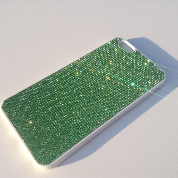 iPhone 6 Plus / 6s Plus Green Peridot Crystals on White  Rubber Case. Velvet/Silk Pouch Bag Included, Genuine Rangsee Crystal Cases.