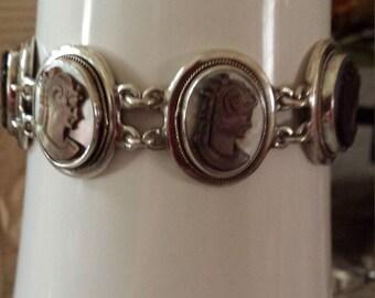 Sterling silver cameo vintage set