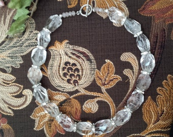 One strand faceted crystal quartz necklace with swarosky rondels