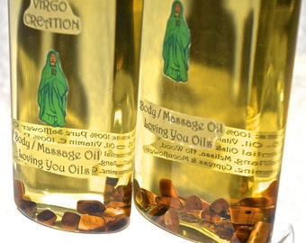 Virgo Creation Body / Massage Oil with Tiger Eye Gemstones