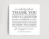 Wedding Thank You Card / Sign Favor for Table. Wedding thank you printable template PDF for download #BPB106