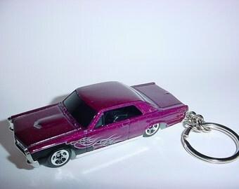 3D 1965 Pontiac GTO custom keychain by Brian Thornton keyring key chain finished in purple color trim diecast metal body