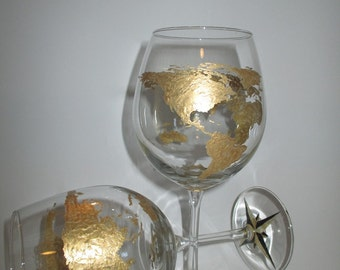 World Map/Compass Red Wine Glasses(set of 4)
