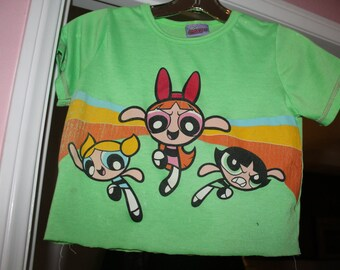 Small Upcycled Power Puff Girls Crop Top