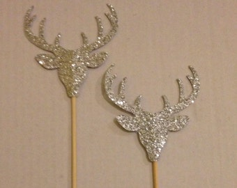 Set of 10 Silver Glitter Deer Cupcake Toppers - Wedding, Birthday, Baby Shower, Event. Large Deer with Antlers