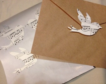 Large Vintage Music Sheet Bird Seals - Envelope Seals Dove Seals Stickers - Wedding Event Swallow Dove Seals Love Birds