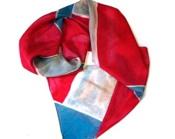 Geometric Blue & Pink Scarf, Hand Painted Silk
