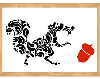squirrel cross stitch pattern, silhouette cross stitch, ornamental, squirrel pattern, abstract, squirrel, modern cross stitch, black and red