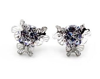 Elegant silver crystal earrings