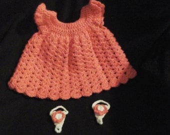 Newborn Pink crochet dress with shoes