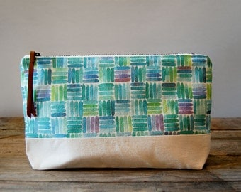 Blue Tiles Pattern Pouch Large
