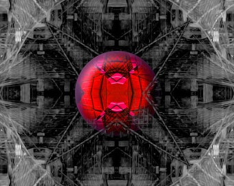 Surreal art print, abstract print, black and white, red sphere, symmetrical art, The Bridge to Nowhere