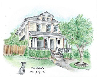 House Portrait / house drawing with pet