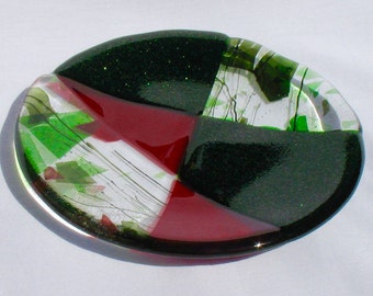 fused glass art serving tray plate red green by angelsongarts. Black Bedroom Furniture Sets. Home Design Ideas