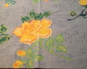 Fabric Panel, Home Decor Square, Sewing, Crafting, Decoration, Pillows, Chair Seat, Mixed Media Art, Yellow Rose  (S) ok