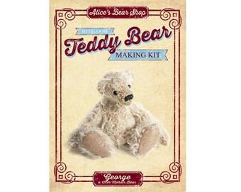 Heirloom Mohair Teddy Bear Making Kit - George 12cm when made