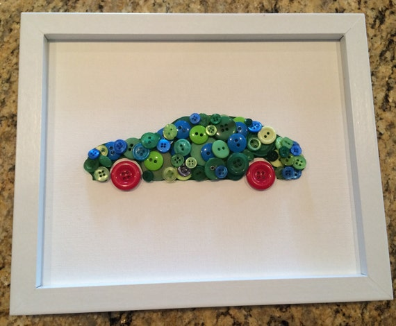items similar to framed kids button art car in green  blue