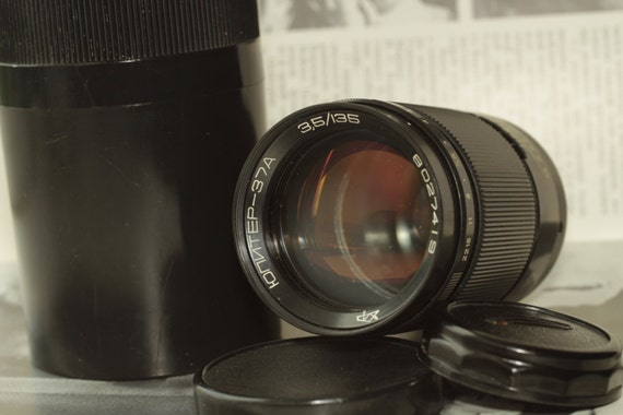 Jupiter-37A Telephoto Lens 3.5/135mm M42 With Case Hood and Both Caps Olympic  И9