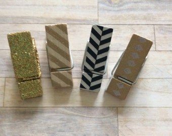 Decorative Clothespins - Patterned Clothespins Gold Glitter Stripes