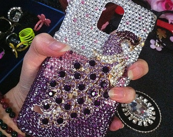 New Bling 3D Metal Purple Peacock Sparkly Chic Gems Crystals Rhinestones Diamonds Jewelry Fashion Lovely Hard Cover Case for Mobile Phones