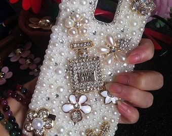 Bling Pearls Floral Gold Perfume Bottle Lovely Fashion Sparkles Charms Crystals Rhinestones Diamonds Gems Hard Cover Case for Mobile Phone