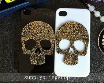 New Bling Sparkly Punk Metal Skull Gun Black Gemstone Crystals Rhinestones Diamonds Fashion Lovely Hard Cover Case for Various Mobile Phones