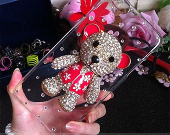 Bling Pink Red 3D Bear Lovely Fashion Sparkles Charms Glossy Jewelled Crystals Rhinestones Diamonds Gems Hard Cover Case for Mobile Phone