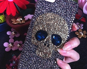 Bling Lovely Punk Metal Bronze Skull Blue Eyes Fashion Sparkles Unique Crystals Rhinestones Diamonds Gems Hard Cover Case for Mobile Phone