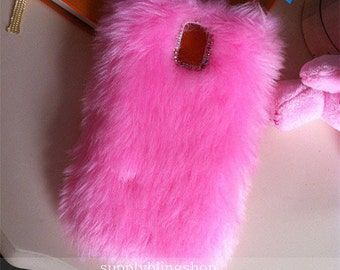 Fashion Charms Bling Synthetic Faux Girly Baby Pink Fur Furry Sparkles Crystals Rhinestones Diamonds Gems Hard Cover Case for Mobile Phone