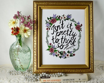 Hand-lettered Hemingway quote with flowers