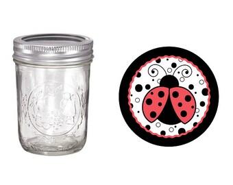 Ladybug Mason Jar.  Birthday. 8 oz jar.16 oz jar. Party Favor. Red. Black. First Birthday