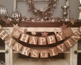 Happy Thanksgiving Banner, Thankful Garland, Thanksgiving Decor, Thanksgiving Decoration, Fall Decor, Fall Banners,