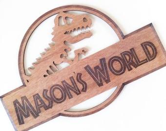 Jurassic Inspired Dinosaur Wooden Personalised Sign, boys room, door sign, wall hanging,