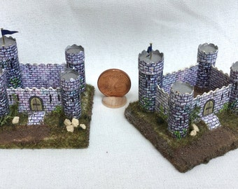 Castle toy for children in cardboard and wood, handmade, 1/12 scale