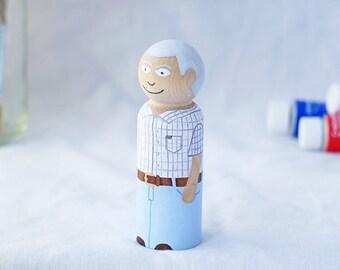 Custom Wooden Peg Doll / Cake Topper - Cute Kawaii Peg Doll - Custom Doll