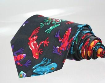Frogs men's tie by Andaloro, Novelty vintage necktie Silk printed Red Green Orange frogs
