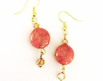 Item #137   Painted Coral and Crystal Earrings