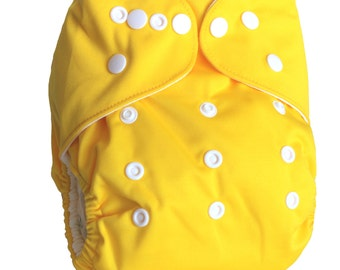 Yellow One Size Organic Bamboo Cloth Diaper with Bamboo Insert (AI2)