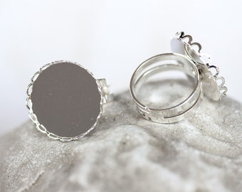 1347_Round blank rings, Adjustable size, Round tray caboshon, Silver round ring,Silver blank ring,Ring cabochon,Ring setting cameo,20mm_5pcs