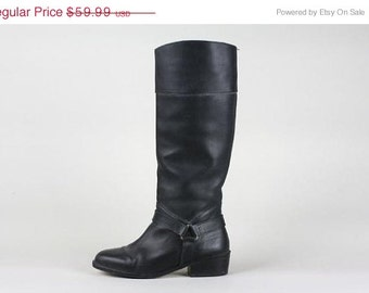 ON SALE Vtg 90s Equestrian/Biker Boots Tall Knee LUX Thick Leather Harness 6.5 M 1998