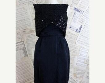 ON SALE Vintage 50s Black Silk Sequin Sheath Dress Jonny Herbert Original S 36/26