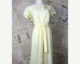 ON SALE Vintage 70s/80s Yellow Checkered Gauze Sheer Boho Ruffle Sleeve Dress Breezy S/M