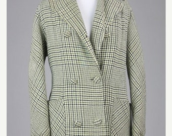 ON SALE Vintage 60s Mod Green/Cream Plaid Double Breasted Wool/Linen Tweed Pea Coat L