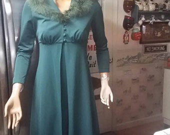 Vintage 1970s Forest Green Polyester 2 Piece Boa Hooded Long Dress