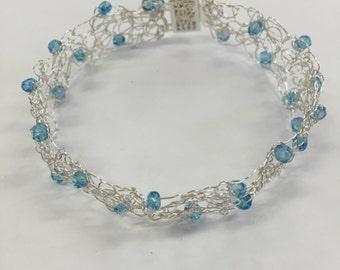 Blue Topaz Wire Crochet Bracelet with Clasp