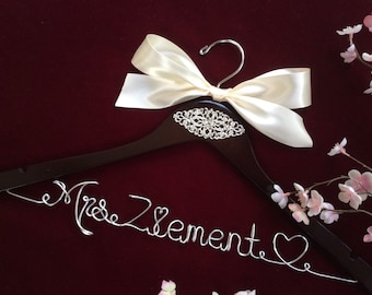 RUSH ORDER: Personalized wedding hanger, Bride hanger, wedding dress hanger, ornament wedding hanger