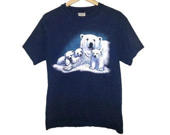 Vintage POLAR BEAR shirt and baby cubs 1995 T-Shirt Animal shirt Soft Grunge Nature Animals Size Medium